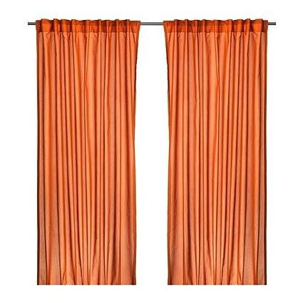 IKEA VIVAN 2 Gardinen orange Vorhang Vorhänge 145x300cm Gardinenpaar