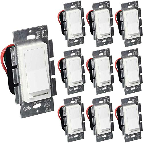 3-Way White Dimmer Switch, Single Pole, Decora, Rocker Switch, Slide Dimmer, 150W LED, for Dimmable LED, Fluorescent and Incandescent Lights, 10 Pack