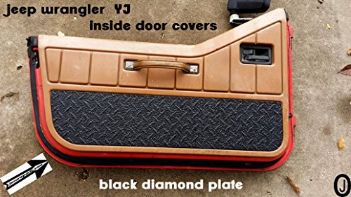 Jeep Wrangler YJ Black Rubber Coated Aluminum Diamond Plate Interior Half Door - Plate Aluminum Black Diamond
