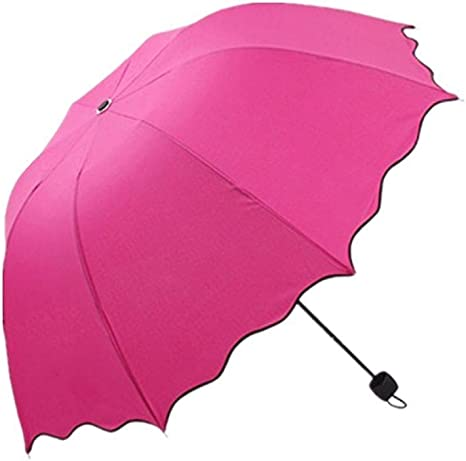 Pluie Parapluie Auxma Flouncing Pliant Feuilles de lotus Princess Dome Parasol Soleil Beige Parapluie Pliant