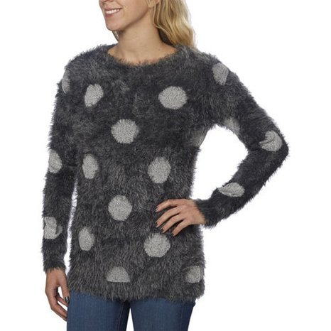 Joseph Abboud Womens Scoop Neck Eyelash Sweater (Charcoal Dot, XXL) (Ann Taylor Silk Sweater)