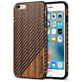 TENDLIN iPhone 6s Plus Case/iPhone 6 Plus Case with Wood Grain Outside Soft TPU Silicone Hybrid Slim Case for iPhone 6 Plus 5.5' and iPhone 6s Plus 5.5' (Wood & Leather)