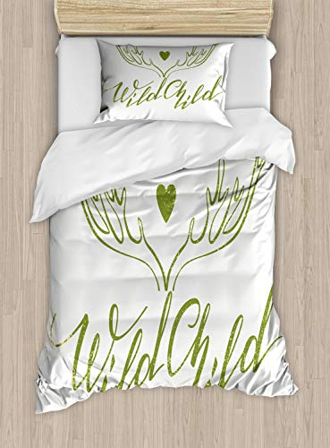 Lunarable Wild Child Duvet Cover Set Twin Size, Cursive Hand Drawn Antlers and Heart with Inspirational Quote Image, Decorative 2 Piece Bedding Set with 1 Pillow Sham, Olive Green and White