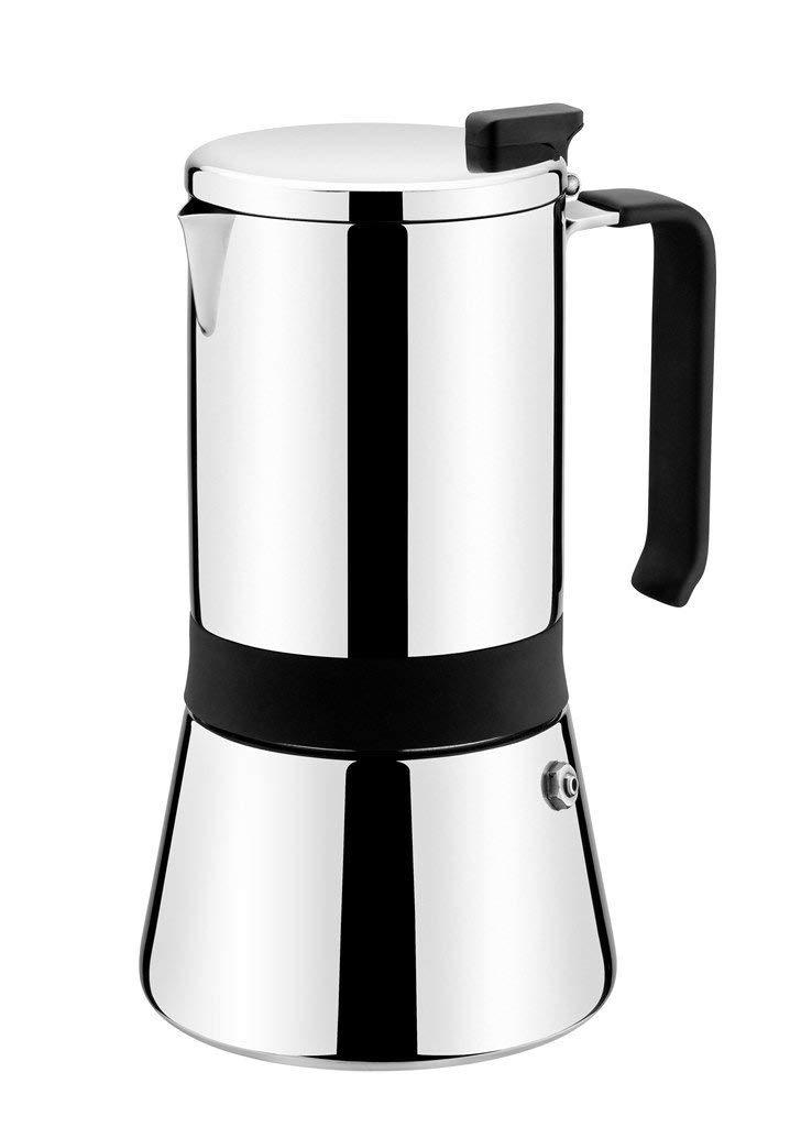 9.5 cm 18//10 Monix 1 Aroma-Cafetera Italiana Acero Inoxidable 4 Tazas