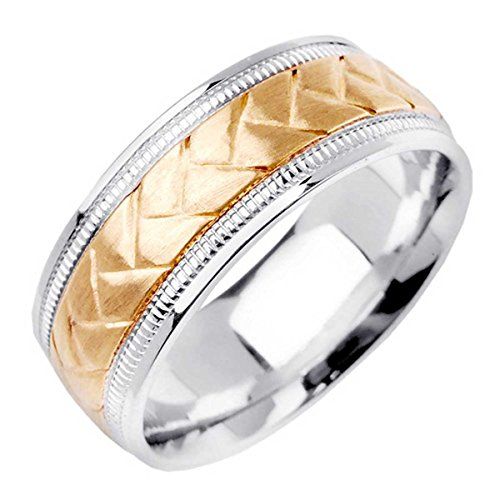 Two Tone Platinum and 18K Yellow Gold Braided Basket Weave Men's Wedding Band (8.5mm) Size-16.5c2