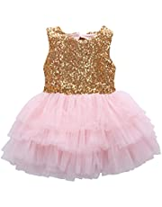 Kids Girls Princess Party Rose Flower Lace Ruffled Layered Tutu Skirt Dress 2-7y