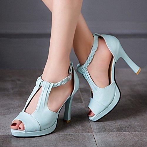 RAZAMAZA Mujer Moda tacones altos Sandalias Peep Toe tacon fiesta Zapatos Azul