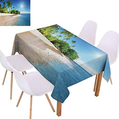 UHOO2018 Blue,Easy Care Tablecloth,Ocean Tropical Palm Trees on Sunny Island Beach Scene Panoramic View Picture,for Patio Garden Tabletop Decor,Blue Green and White,73