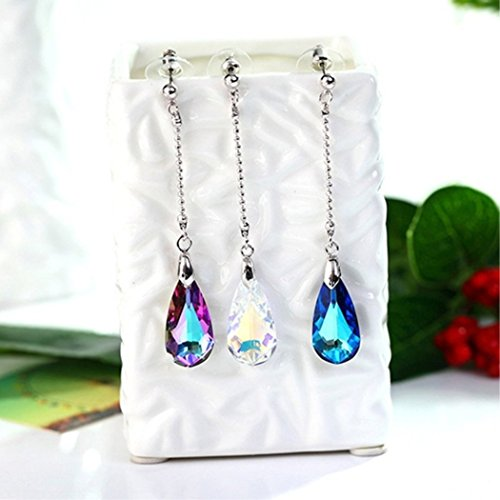 Crystal Chain Drop Earrings - KaiKBax Charm Long Chain Crystal Drop Earring Women Fashion Elegant Earrings Girl Temperament Piercing Exquisite Accessories Gifts Lake blue
