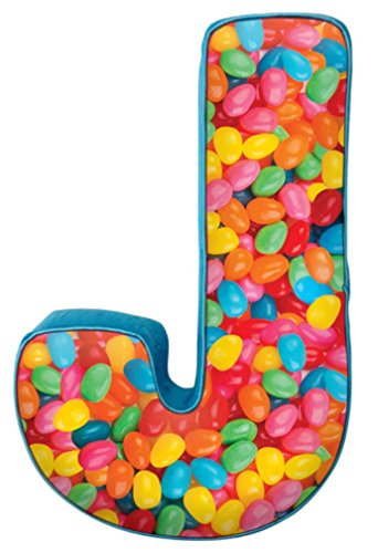 iscream Lettermania J Initial 16'' Jelly Beans Print Fleece Back Microbead Pillow by iscream