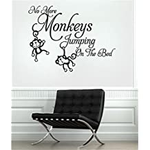 filedy Mural Saying Wall Decal Sticker Art Mural Home Decor Quote Expression No More Monkeys Jumpin' on the Bed!
