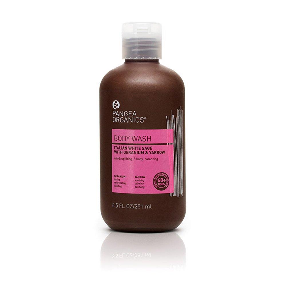 Pangea Organics Body Wash   Italian White Sage with Geranium & Yarrow   Best All-Natural Sulfate Free Shower Gel   For Men or Women   Vegan   Gluten Free   Non-GMO   8.5 Oz