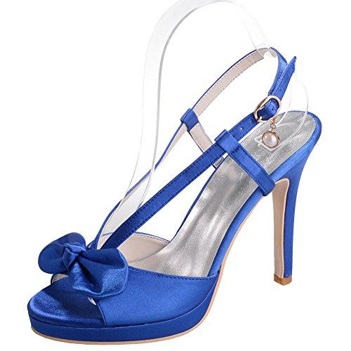 Loslandifen Damesschoenen Elegante Open Teen Satijn Pumps Strik-knoop Stiletto Hoge Hakken Bruids Schoenen Blauw