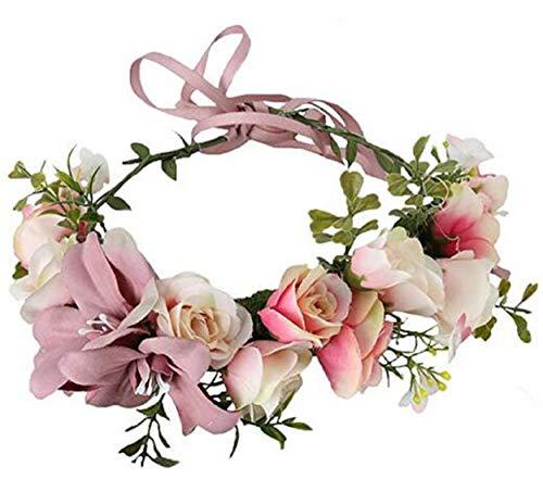 Vividsun Flower Crown Floral Headpiece Festival Wedding Hair Wreath Floral Crown -