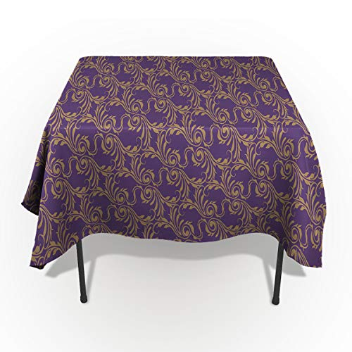 60 x 84 Inch Rectangle Tablecloth - Vintage Paisley Jacquard Purple Rectangular Polyester Table Cloth Table Covers Linen Decor - Great for Kitchen Table, Parties, Holiday Dinner, Wedding & More