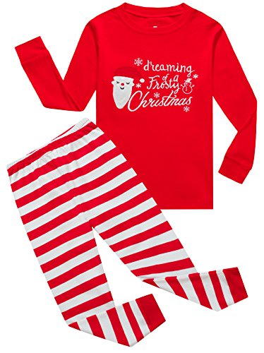 IF Pajamas Santa Claus Little Girls Boys Pjs 100% Cotton Long Sleeve Kids Toddler Striped Size Red 4T