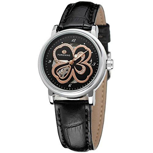 GuTe reloj de mujer automático mecánico reloj de pulsera con diseño de flores esfera y correa de piel plata/negro: Amazon.es: Relojes