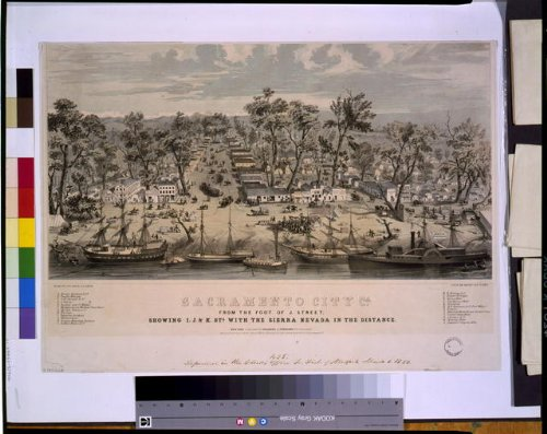Map Panoramic Ca - Historic Panoramic Map Reprint: Sacramento city, Ca. : from the foot of J. Street, showing I., J., & K. Sts. with the Sierra Nevada in the distance 1850 36 x 24