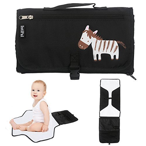 IntiPal Baby Diaper Changing Pad - Diaper Changing Mat with Storage Pockets - Portable Diaper Changing Station Kit Clutch for Travel and Home (Black Zebra) by IntiPal by IntiPal