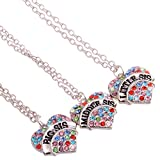 YeeQin Pack of 3 Big Middle Little Sister Sis Crystal Heart Pendant Necklace Women Girl Jewelry Gifts