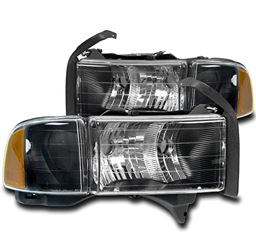 ZMAUTOPARTS Dodge Ram 1500 Sport Crystal Style Headlights with Corner Lamps Black