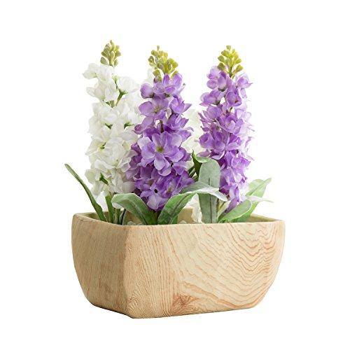 9-Inch Rustic Faux Wood Ceramic Flower Vase, Decorative Centerpiece Planter Bowl