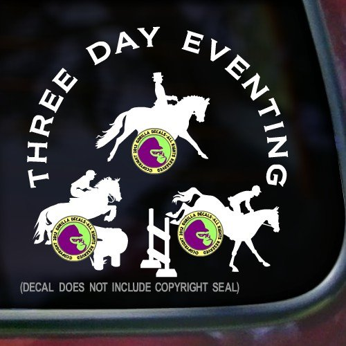 (3 DAY EVENTING Eventer Jumping Cross Country Dressage Horse Decal Vinyl Bumper Sticker Laptop Window Car Trailer Wall WHITE)