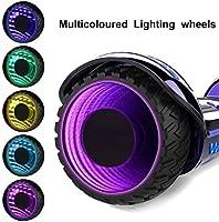GeekMe Patinete 6,5 Pulgadas Scooter Eléctrico Certificado UL 2272 con Bluetooth y Coloridas Lámparas LED Ruedas Intermitente