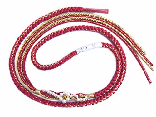 パール花飾り付先割れ正絹帯締め帯〆ワイン赤色 振袖成人式&着物に