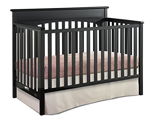 Graco Lauren 4-in-1 Convertible Crib, Black, Easily Converts to Toddler Bed, Day Bed or Full Bed, 3 Position Adjustable Height Mattress (Mattress Not ()