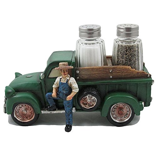 Vintage Farmer and Pickup Truck Salt and Pepper Shaker Set Figurine for Old Fashioned Farm Country Kitchen Decor Sculptures and Rustic Statues or Classic Retro Gifts for Farmers (Old Pickup)