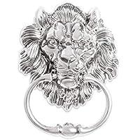 BorizDoorz Lion Door Knocker Lion Head Beautiful Lion Mouth Accessories Gate Antique Silver Chrome