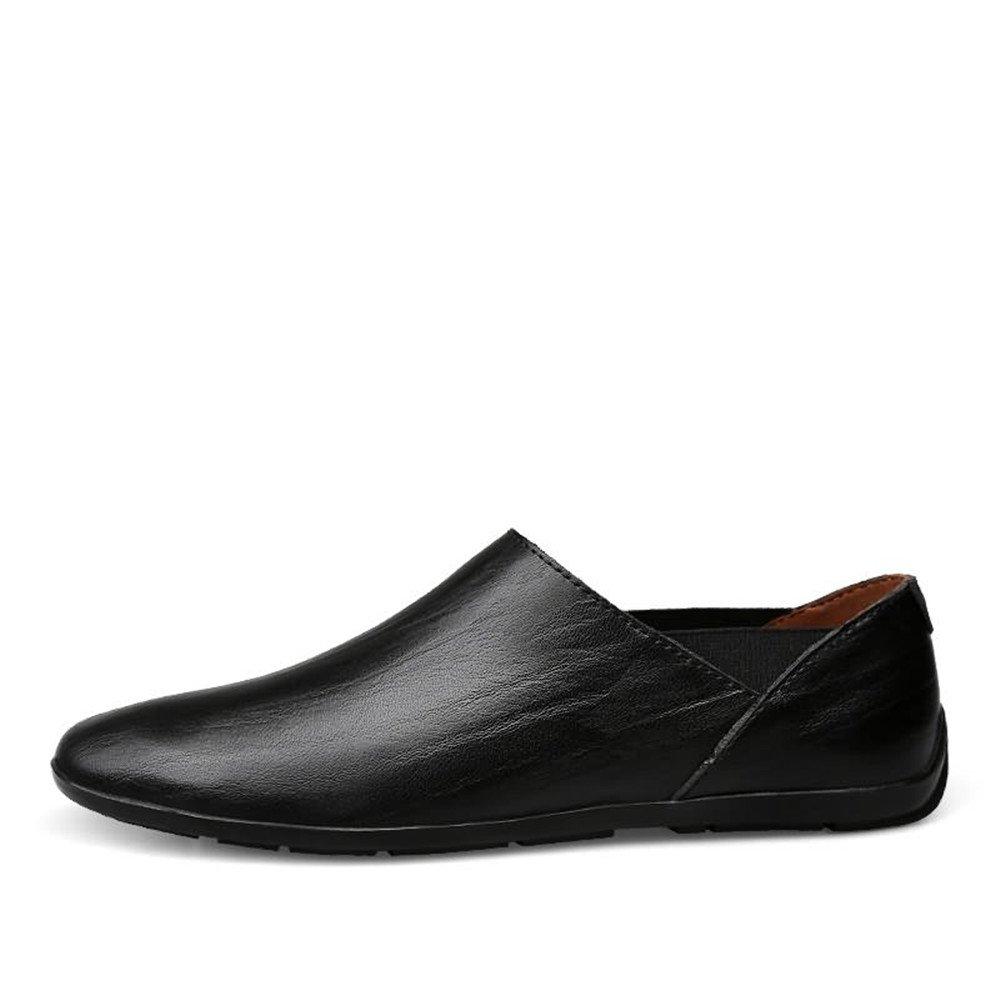 Sunny&Baby Slip on Mocasines de los Hombres de Cuero de la PU Mocasines de Barco de conducción de Moda Zapatos Casuales Antideslizante (Color : Negro, ...