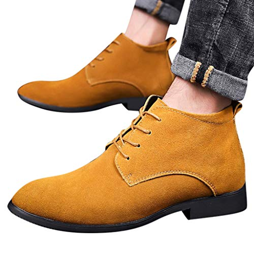 Men's High-Top Lace-Up Casual Pointed Toe Lightweight Shoes Block Heels Hollow Shoes Brown