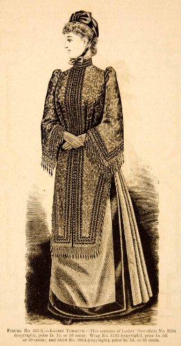 1890 Wood Engraving Portrait Fashion Costume Clothing Dress Victorian Woman Hat - Original In-Text Wood (Victorian Costumes 1890)