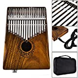 17 Keys EQ Kalimba Thumb Piano Natural Acacia Wood Body Metal Engraved Notation Tines Finger Piano With Jack Song Book Tuning Hammer Pickup Carry Bag African Musical Instrument Kids Gifts for Music Lo