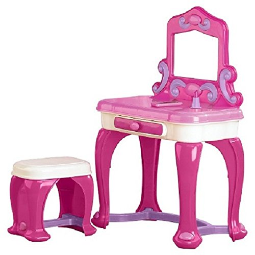 Kids Toddlers Small Vanity Set W 15 Accessories Stool