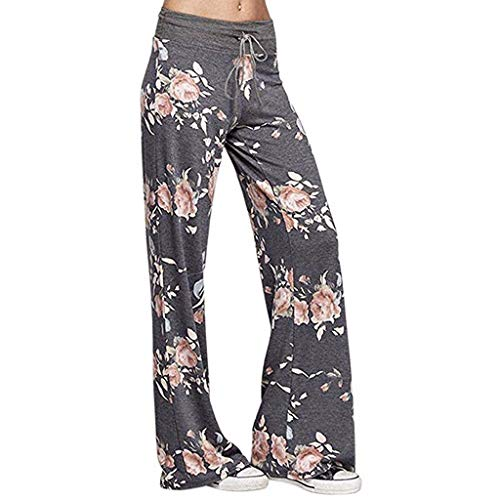 Pongfunsy Women's Comfy Casual Pajama Pants Floral Print Drawstring Palazzo Lounge Pants Wide Leg Yoga Pants Plus Size Gray (For Sale Lounges Black Leather)