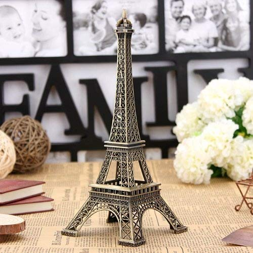 Bronze Tone Paris Eiffel Tower Figurine Statue Vintage Model Decor Alloy 13cm