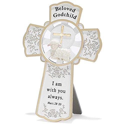 - Dicksons Resin Tabletop Wall Cross, Beloved Godchild/White