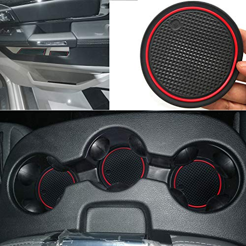 Auovo Anti-dust Door Mats for 2018 Dodge Ram 1500 2500 Crew Cab Interior Accessories Gate Door Compartment Inserts Cup Console Liners (Red, for Split Bench Seat Armrest Console Model 28pcs/Set) …