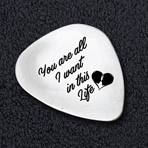 You Are All I Want In This Life - Pesonalized Guitar Picks - A Keepsake Gift - Personalized Phrase for Wedding / Anniversary - Engagement Gift - Guitar Themed Gifts - Designer Boston Stores In