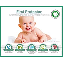 """ORGANIC Cotton 100% Waterproof Fitted Crib Protector - Non-Toxic, NO """"Bamboo"""" Rayon Fiber, Hypoallergenic, Unbleached - Washer/Dryer Friendly (52"""" x 28"""" x 9"""")"""
