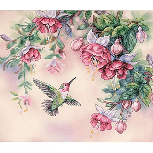 Hummingbird Cross Stitch Pattern - SODIAL Dimensions Hummingbird & Fuchsias Stamped Cross Stitch Kit-14 inch X 12 inch