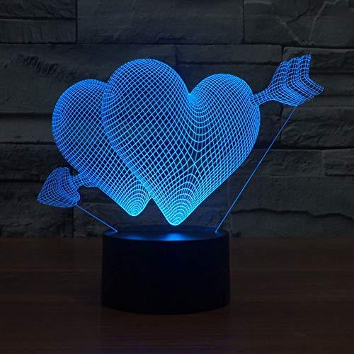 - NIEBC RGB 3D 7-Color Gradual Changing LED Touch Switch Visualization Illusion Atmosphere Light Desklamp Nightlight (Arrow Through Heart)