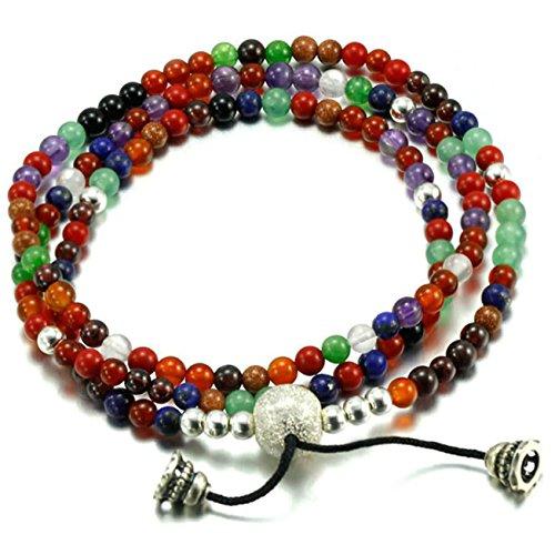 2pac Halloween Costumes (Epinki 925 Sterling Silver Women Bracelet Multilayer Prayer Beads Colorful)