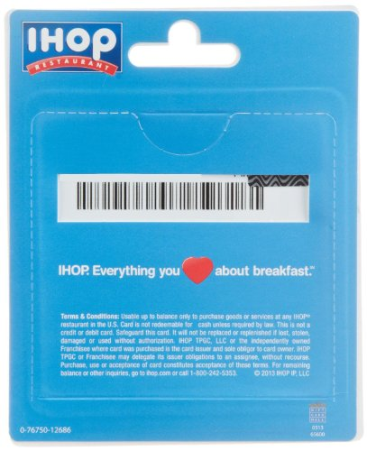 IHOP Restaurant Gift Cards - back