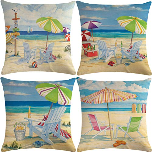 7COLORROOM 4pack Beach Theme Throw Pillow Covers Beach Holiday Series with Beer Pattern Happy Summer Time Cushion Covers Coastal House Home Decorative Pillowcases 18
