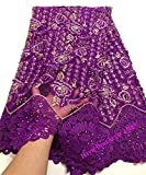 Laliva New Designs Green African French Lace Fabric Nigeria African French Net Lace with Stones for Women Dress VV004 - (Color: As Picture)