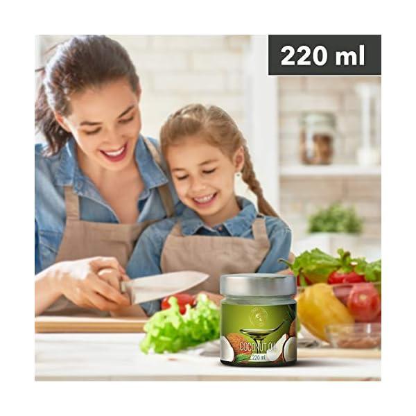 Olio di Cocco Pressato a Freddo 220ml - Indonesia - Extra Vergine - 100% Puro e Naturale - Miglior per ad Uso Alimentare 3 spesavip